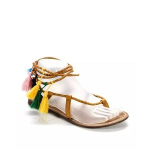 Candela woven tassel sandals brown leather